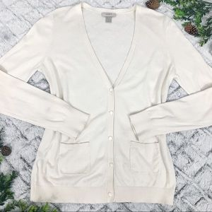 Ann Taylor LOFT Cream V-neck Cardigan Sweater